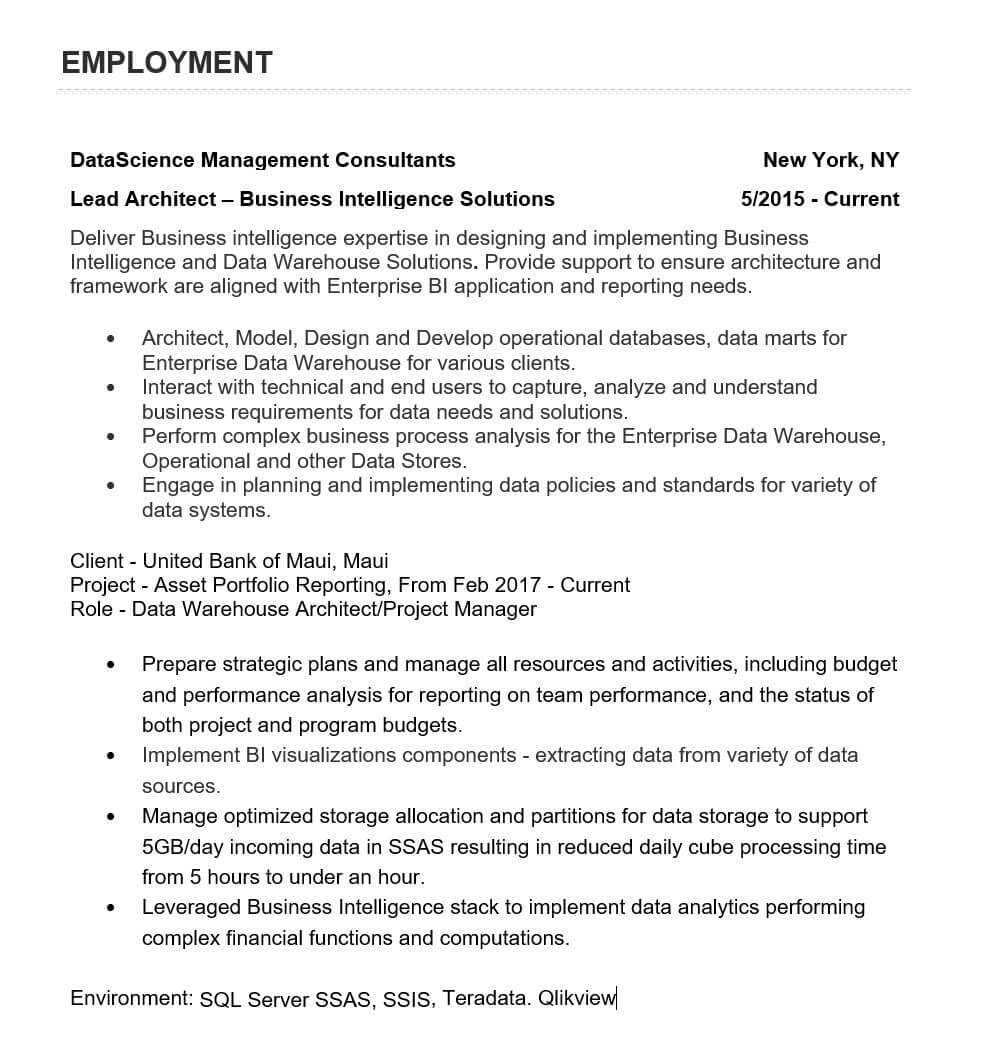 multi company resume